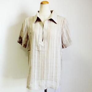 タウン スキッパー シャツ〈ベージュ〉ポリエステル100% ストライプ 織り トップス Tシャツ ブラウス 送料無料 atelier-ayumi