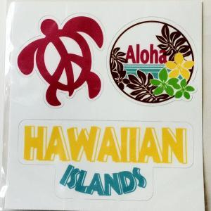 ALOHA!! アイランド 3カットステッカー アロハホヌ クリックポスト 対応可能 ハワイアン雑貨 南国 リゾート|atelier-ayumi|02