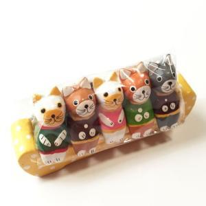 お座り ベンチ ネコ S 5匹〈イエロー〉バリ木彫り アジアン雑貨 バリ雑貨 アニマル木彫り 置物 猫 ねこ キャット|atelier-ayumi
