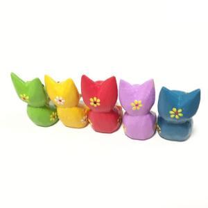 プルメリアを持った花持ちネコ5匹セット〈カラフル猫〉バリ木彫り アジアン雑貨 バリ雑貨 アニマル木彫り・置物|atelier-ayumi|02