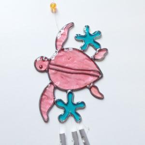 ホヌ プルメリア ウィンドウチャイム (風鈴)〈 ピンク 〉ウミガメ 海亀 サンキャッチャー 風水 クリックポスト 対応可能  ハワイアン雑貨 ウィンドーチャイム|atelier-ayumi|02