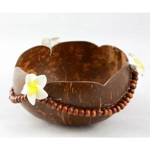 ココナッツ 小物入れ〈プルメリア ウッド ビーズ〉 クリックポスト等不可〈ハワイアン雑貨〉ヤシの実 アジアン雑貨 ハワイアン雑貨|atelier-ayumi