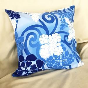 ハワイアンクッションカバー ハワイアンキルト&スワール〈ブルー〉45cm×45cm【クリックポスト対応可能】ハワイアンファブリック|atelier-ayumi|02