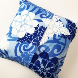 ハワイアンクッションカバー ハワイアンキルト&スワール〈ブルー〉45cm×45cm【クリックポスト対応可能】ハワイアンファブリック|atelier-ayumi|03
