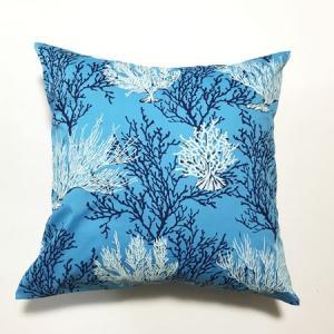 ハワイアン クッションカバー コーラルリーフ(サンゴ柄)〈 ブルー 〉 45cm×45cm メール便対応可能 ハワイアンファブリック|atelier-ayumi