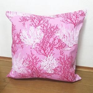 ハワイアン クッションカバー コーラルリーフ(サンゴ柄)〈 ピンク 〉 45cm×45cm メール便対応可能 ハワイアンファブリック|atelier-ayumi|02