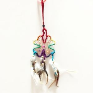 カラフルなレインボーのドリームキャッチャー〈ハイビスカス〉 ネイティブアメリカン 虹色 ハワイアン雑貨 インテリア雑貨 四葉のクローバー|atelier-ayumi