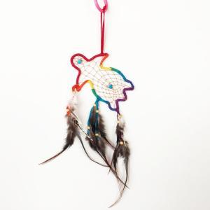 アウトレット カラフル レインボー ドリームキャッチャー〈ホヌ〉 ネイティブ アメリカン 虹色 ハワイアン雑貨 インテリア雑貨 ウミガメ|atelier-ayumi