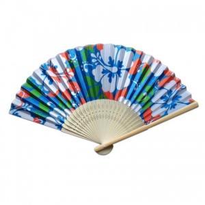 ハワイアン柄 扇子 〈 ブルー ハイビスカス  〉バンブーファン ハワイアン雑貨 リゾート柄 虹 浴衣 和装に クリックポスト対応可能|atelier-ayumi