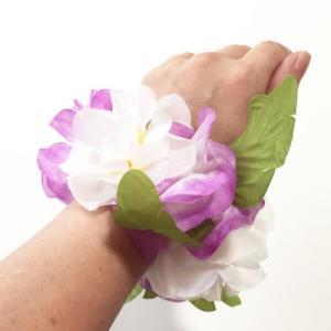 ハワイアン フラワー ブレスレット ロイヤル ハイビスカス〈パープル&ホワイト〉2個セット ハワイアンレイ クリックポスト対応可能 シュシュ|atelier-ayumi