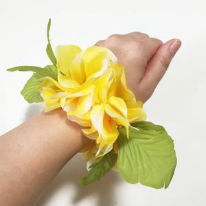 ハワイアンフラワーブレスレット ロイヤルハイビスカス〈イエロー〉2個セット ハワイアンレイ クリックポスト対応可能 シュシュ|atelier-ayumi