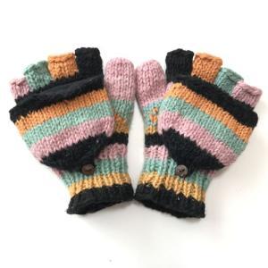 2WAY 裏フリース 指カバー付き カラフル ニット グローブ〈オレンジ ピンク ミント〉ウール100% ネパール製 ミトン手袋 アジアン エスニック 送料無料 atelier-ayumi