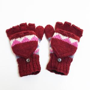 2WAY 裏フリース ミトンカバー  付き カラフル ニット グローブ ワインレッド ウール100% ネパール製 ミトン手袋 エスニック雑貨 アジアン雑貨|atelier-ayumi