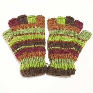 裏フリース カラフルニット グローブ〈ブラウン&グリーン〉 ウール100% ネパール製 手袋 エスニック雑貨 アジアン雑貨 送料無料  ボーダー柄 atelier-ayumi