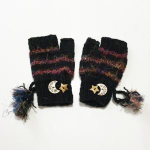 ミックスシルク ☆ ボーダー 指なし手袋〈ブラック〉ウールシルク ネパール製 ミトン手袋 エスニック雑貨 アジアン雑貨 送料無料 atelier-ayumi