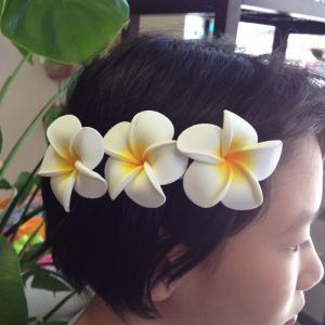 プルメリアバレッタL ホワイト 髪留め ヘアーアクセサリー ハワイアン雑貨 ヘアアクセ atelier-ayumi