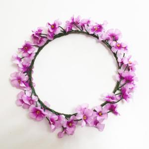 花冠 (花かんむり) 小花 パープル 髪飾り ハワイアンヘッドバンド フラワーハク フラダンス ハワイアンレイ フラワーレイ|atelier-ayumi