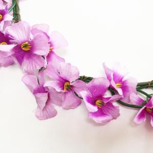 花冠 (花かんむり) 小花 パープル 髪飾り ハワイアンヘッドバンド フラワーハク フラダンス ハワイアンレイ フラワーレイ|atelier-ayumi|02