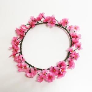 花冠 (花かんむり) 小花 ピンク 髪飾り ハワイアンヘッドバンド フラワーハク フラダンス ハワイアンレイ フラワーレイ|atelier-ayumi