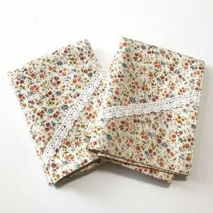 手作り ランチョンマット 小花柄 レース 31×44cm 2枚組 〈ナチュラル〉日本製 綿 送料無料 インテリアに フェミニン オリジナル ハンドメイド|atelier-ayumi