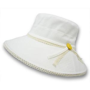 透け格子柄 トリミング レース ハット UVケア 帽子 オフホワイト 送料無料 紫外線対策 女優帽 UV加工 ボーダー 無地|atelier-ayumi