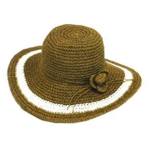 ツバ広 ペーパー ハット フラワー コサージュ 付き 帽子〈ブラウン〉 送料無料 クロシェ クロシェット ナチュラル 帽子 紫外線対策 麦わら帽子|atelier-ayumi