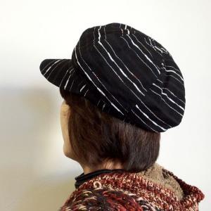 レディース 帽子〈つば付き帽 帽子〉光沢 ファンシー ヤーン キャスケット〈ブラック〉 送料無料 訳あり アウトレット オーガンジー ライン ボーダー|atelier-ayumi