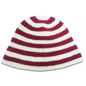 コットン ボーダー クロッシェ 〈 レッド 〉57.5cm ニット帽 コットン100% 送料無料 メール便 〈メンズ〉〈レディース帽子〉|atelier-ayumi