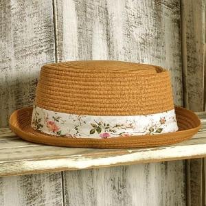 カンカン帽 花柄 リボン付き〈モカチャ〉 送料無料 紫外線対策 ペーパー素材レディース帽子 ハット|atelier-ayumi