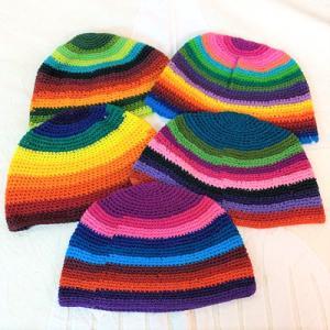 ボーダー ニット キャップ〈ラスタ〉ニット帽 コットン 100% 送料無料 メール便  〈メンズ〉〈レディース帽子〉ビーニー atelier-ayumi