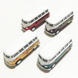 ワーゲン バス ミニ ミニカー LOVE&PEACE〈イエロー/レッド/グリーン/ブラウン〉 ハワイアン雑貨 ワーゲン クラッシック バス プルバック カー atelier-ayumi