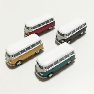 ワーゲン バス ミニ ミニカー プレーン〈イエロー/グリーン/ブラウン〉 ハワイアン雑貨 ワーゲン クラッシック プルバック カー atelier-ayumi