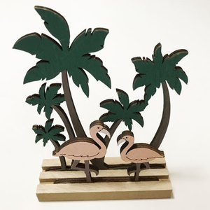 ハワイアン ウッド ヤシ フラミンゴのスタンド オブジェ ヤシの木 パームツリー インテリア ハワイアン雑貨 ハワイアンティスト atelier-ayumi