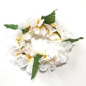 ハワイアン ヘッドバンド〈ホワイト系〉プルメリア 花冠 フラワーハク フラダンス ハワイアンレイ クリックポスト対応可能 ハワイアンウエディングに atelier-ayumi