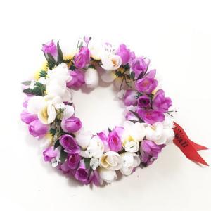 ロケラニ ヘッドバンド ホワイト パープル ハワイアン ハクレイ フラガール 花冠 フラダンスレイ ハワイアンレイ フラワーレイ ハワイアンウエディング atelier-ayumi