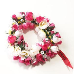 ロケラニ ヘッドバンド ホワイト ピンク ハワイアン ハクレイ フラガール 花冠 フラダンスレイ ハワイアンレイ フラワーレイ ハワイアンウエディング atelier-ayumi