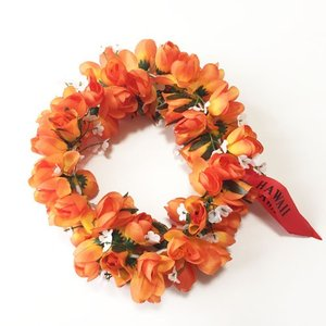 ロケラニ ヘッドバンド  オレンジ  ハワイアンヘッドバンド ハクレイ フラガール 花冠 フラダンスレイ ハワイアンレイ フラワーレイ ハワイアンウエディング atelier-ayumi