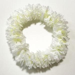 ハワイアンヘッドバンド ハクレイ カーネーション〈ホワイト〉花冠 フラダンス  ハワイアンレイ フラワーレイ メール便 対応可能 atelier-ayumi