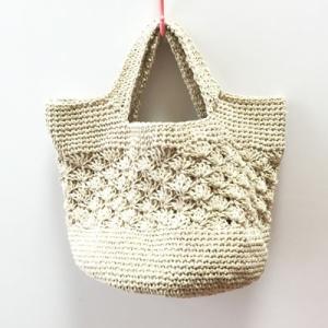 手編みヘンプバッグ ハンドバッグ〈ナチュラル〉カゴバッグ 送料無料 クリックポスト 大麻(桑科) 手づくり かごバッグ|atelier-ayumi
