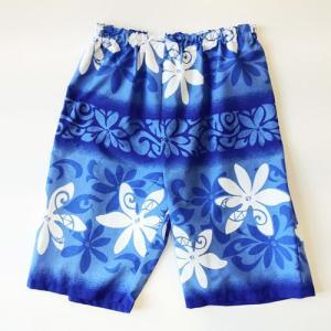 ハワイアンハーフパンツLサイズ ホワイトティアレボーダー〈ブルー〉 【クリックポスト送料無料】ヨガ・フラダンスに 【男女兼用】リラックスパンツ|atelier-ayumi