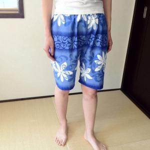 ハワイアンハーフパンツLサイズ ホワイトティアレボーダー〈ブルー〉 【クリックポスト送料無料】ヨガ・フラダンスに 【男女兼用】リラックスパンツ atelier-ayumi 02