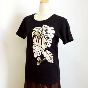 半袖フラTシャツ モンステラ プリント ブラック M L LL  クリックポスト 送料無料 ハワイアン フラダンスTシャツ|atelier-ayumi