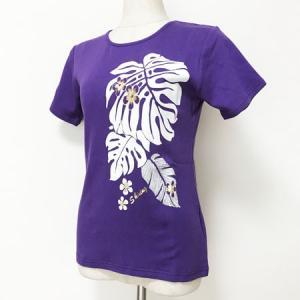 半袖フラTシャツ モンステラ プリント パープル M クリックポスト 対応可能  ハワイアン フラダンス Tシャツ atelier-ayumi