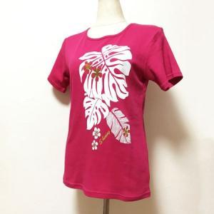 半袖フラTシャツ モンステラ プリント チェリーピンク  M L LL クリックポスト 対応可能 ハワイアン フラダンスTシャツ atelier-ayumi