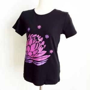 グラデーション プリントTシャツ トーチジンジャー 半袖フラTシャツ ブラック  LL クリックポスト 送料無料 ハワイアン フラダンス フラTシャツ|atelier-ayumi