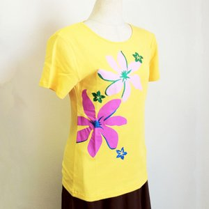 半袖Tシャツ ティアレ ラメ プリント イエロー  LL  クリックポスト 送料無料  ハワイアン フラダンス フラTシャツ atelier-ayumi