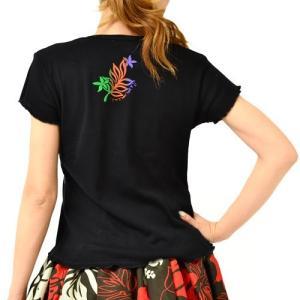 半袖 カットソー Tシャツ グラデーション プリント モンステラ クロ M / L コットン100%  送料無料 プルメリア ティアレ ギャザー フラT タイ製|atelier-ayumi|02
