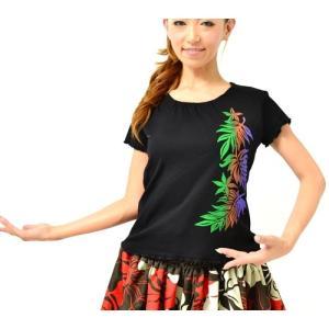 半袖 カットソー Tシャツ グラデーション プリント モンステラ クロ M / L コットン100%  送料無料 プルメリア ティアレ ギャザー フラT タイ製|atelier-ayumi|03
