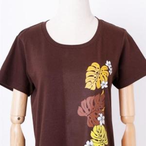 半袖 フラ Tシャツ モンステラ&プルメリア柄〈アカ ブラウン ライムグリーン〉M L コットン 100% 送料無料 ハワイアン フラダンス カットソー レッド|atelier-ayumi|06