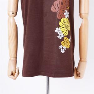 半袖 フラ Tシャツ モンステラ&プルメリア柄〈アカ ブラウン ライムグリーン〉M L コットン 100% 送料無料 ハワイアン フラダンス カットソー レッド|atelier-ayumi|08